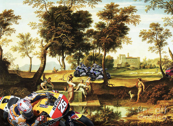 Wall Art - Painting - New Motorcycle Gran Prix On An Antique Painting by Drawspots Illustrations