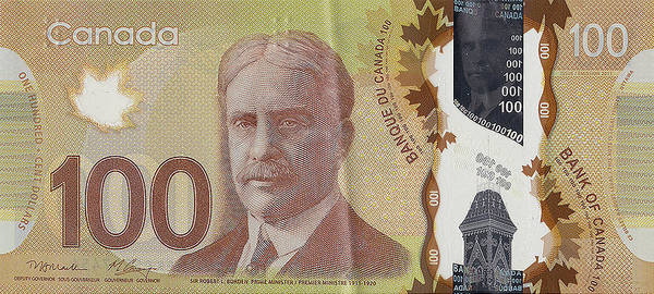 Banking Digital Art - New One Hundred Canadian Dollar Bill by Serge Averbukh
