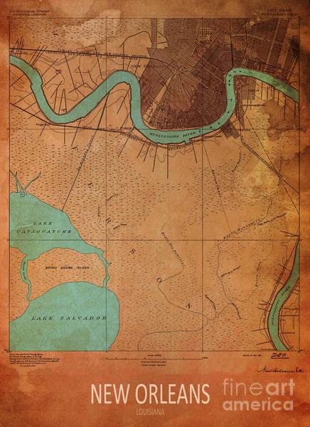 Wall Art - Digital Art - New Orleans 1891 Map by Drawspots Illustrations