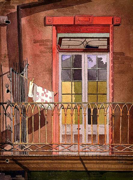Clothesline Painting - New Orleans - Balcony With Laundry - Galley House by Mountain Dreams