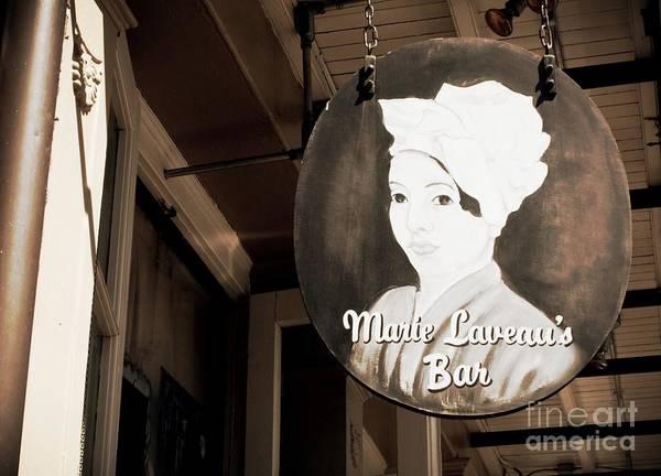 Wall Art - Photograph - New Orleans Bar Sign - Sepia by Carol Groenen