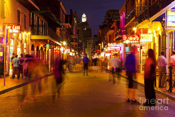 Photograph - New Orleans, Bourbon Street At Night by Bryan Mullennix