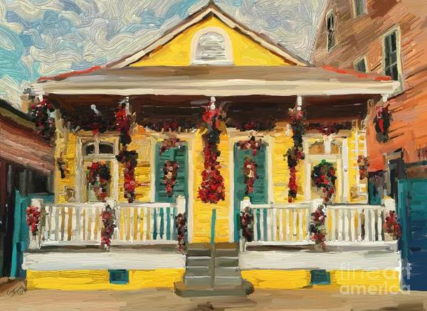 Porch Painting - New Orleans Christmas by Carrie Joy Byrnes