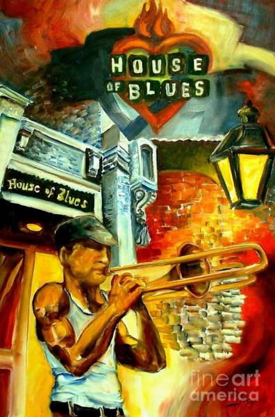 Trombone Wall Art - Painting - New Orleans' House Of Blues by Diane Millsap