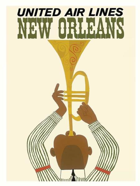 Louisiana Digital Art - New Orleans Jazz Trumpet Player Vintage Airline Travel Poster by Retro Graphics