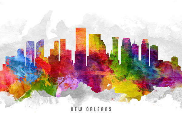 Wall Art - Painting - New Orleans Louisiana Cityscape 13 by Aged Pixel