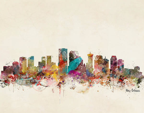 Louisiana Painting - New Orleans Louisiana Skyline by Bri Buckley