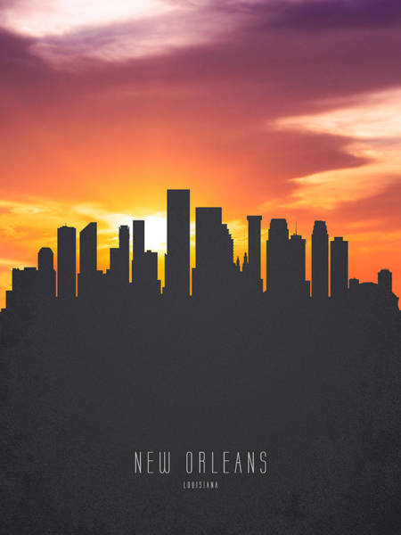 Wall Art - Painting - New Orleans Louisiana Sunset Skyline 01 by Aged Pixel