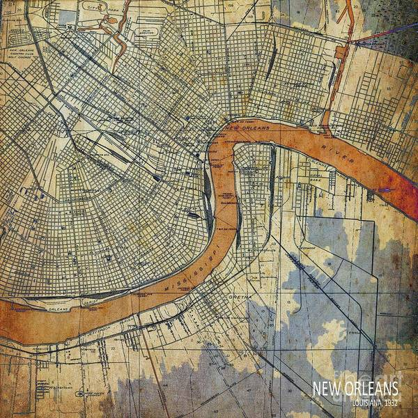 Wall Art - Digital Art - New Orleans Louisiana Vintage Map by Drawspots Illustrations