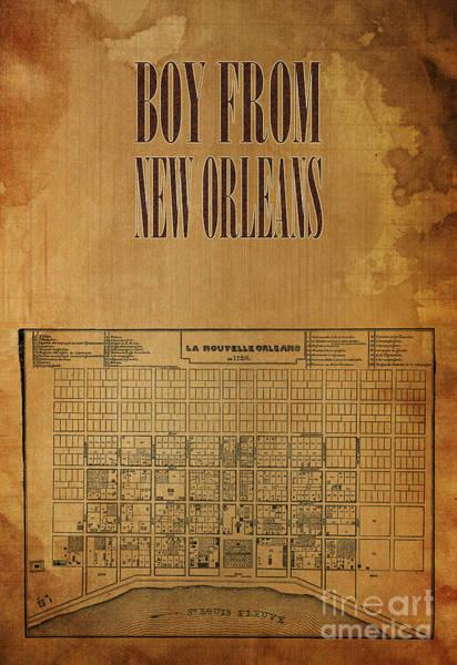 Wall Art - Digital Art - New Orleans Map - Jazz Song by Drawspots Illustrations