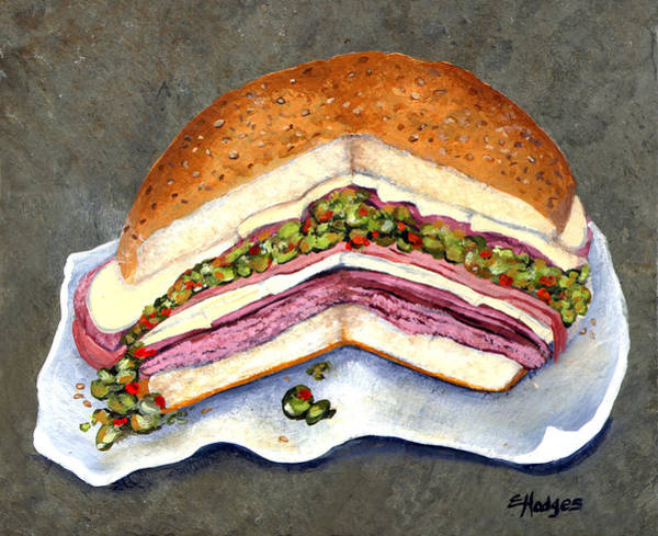 Slate Painting - New Orleans Muffaletta by Elaine Hodges