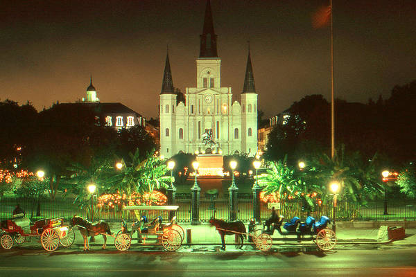 Photograph - New Orleans Night Photo - Saint Louis Cathedral by Peter Potter