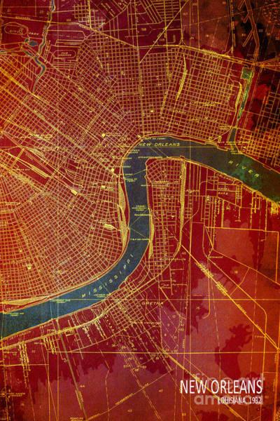 Wall Art - Digital Art - New Orleans Old Map 1932 by Drawspots Illustrations