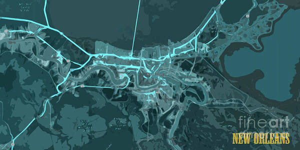 Wall Art - Digital Art - New Orleans Old Map Abstract Blue by Drawspots Illustrations