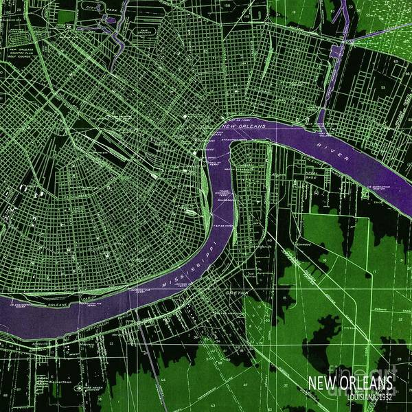 Wall Art - Digital Art - New Orleans Old Map Year 1945 Green And Purple by Drawspots Illustrations