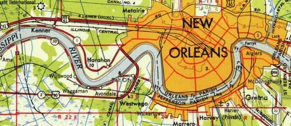 Wall Art - Drawing - New Orleans Old Map Year 1945 by Drawspots Illustrations