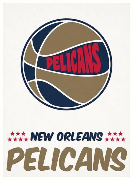 Pelican Mixed Media - New Orleans Pelicans Vintage Basketball Art by Joe Hamilton