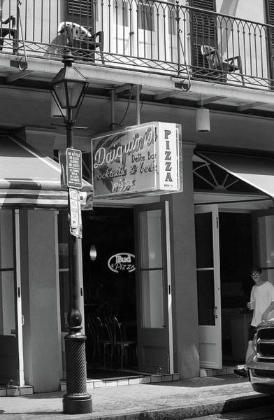 Photograph - New Orleans - Pizza And Beer 2004 Bw by Frank Romeo