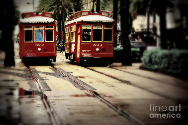 Wall Art - Photograph - New Orleans Red Streetcars by Perry Webster
