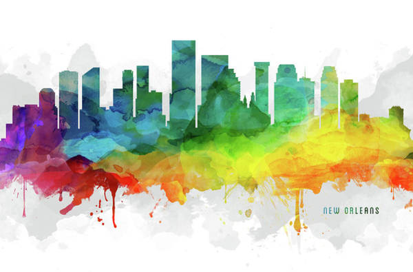 Wall Art - Digital Art - New Orleans Skyline Mmr-uslano05 by Aged Pixel
