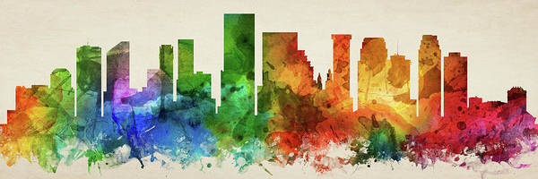 Wall Art - Digital Art - New Orleans Skyline Panorama Uslano-pa03 by Aged Pixel