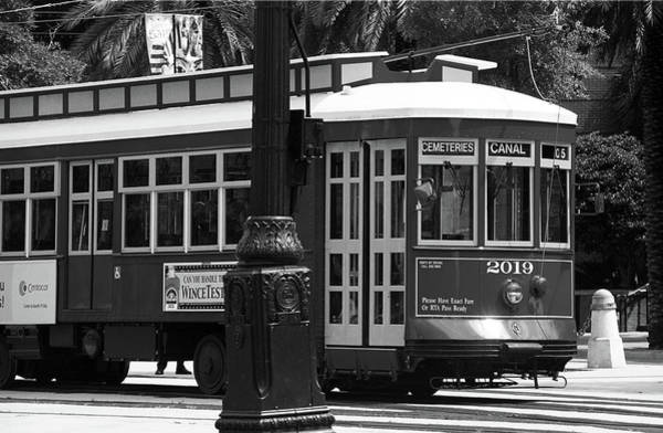 Photograph - New Orleans Trolley Bw by Frank Romeo