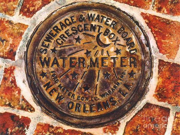 Sewer Painting - New Orleans Water Meter by Misha Ambrosia