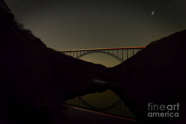 Photograph - New River Bridge At Night With Traffic Lights by Dan Friend