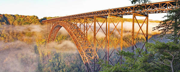 Photograph - New River Gorge Bridge Morning Fall Panorama by Simply  Photos