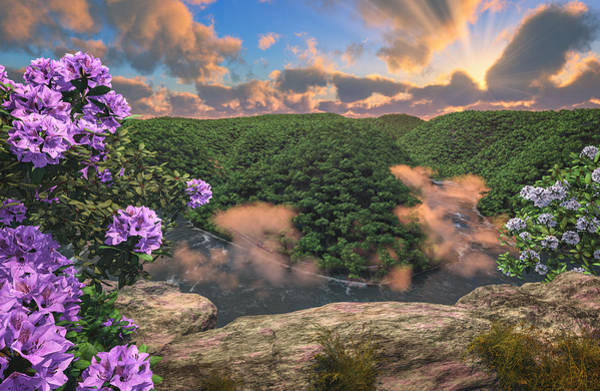 Digital Art - New River Gorge Grandview by Mary Almond