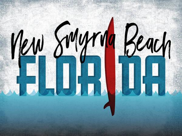 New Smyrna Beach Digital Art - New Smyrna Beach Red Surfboard by Flo Karp