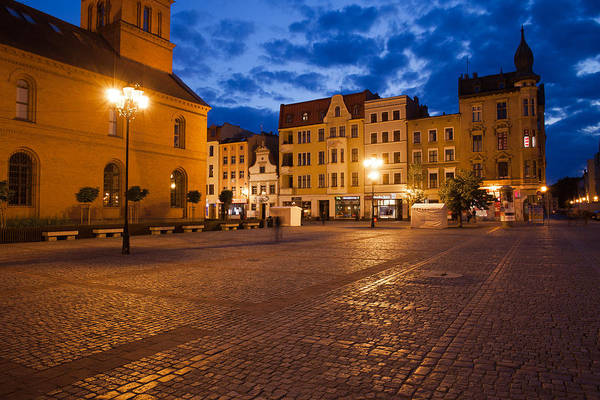 Tenement Photograph - New Town Square At Night In Torun by Artur Bogacki