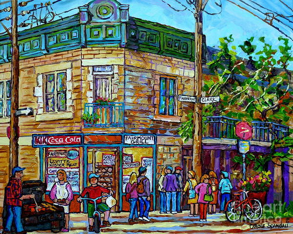 Bbq Painting - Fairmount Grill Plateau Mont Royal Summer Street Scene Montreal Painting Canadian Art Carole Spandau by Carole Spandau
