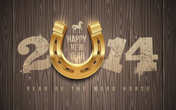 Horse Shoe Digital Art - New Year 2014 by Bert Mailer