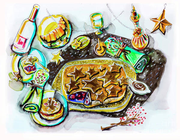 Drawing - New Year  Party Table by Ariadna De Raadt