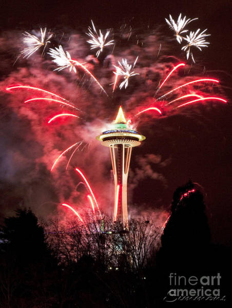 Wall Art - Photograph - New Years At The Space Needle by Peter Simmons