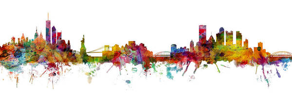 Wall Art - Digital Art - New York And Pittsburgh Skyline Mashup by Michael Tompsett