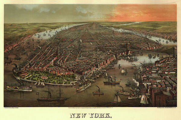 Wall Art - Painting - Antique Map Of New York by Antique map