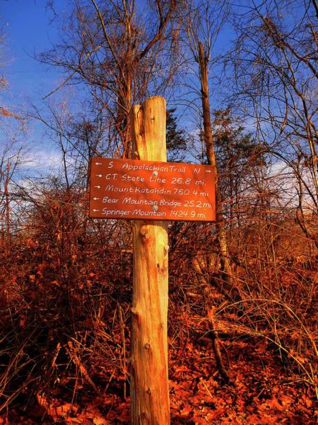 Photograph - New York Appalachian Trail Sign by Raymond Salani III