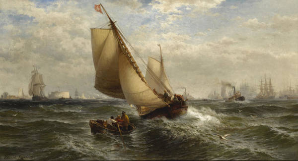 Wall Art - Painting - New York Bay by Edward Moran