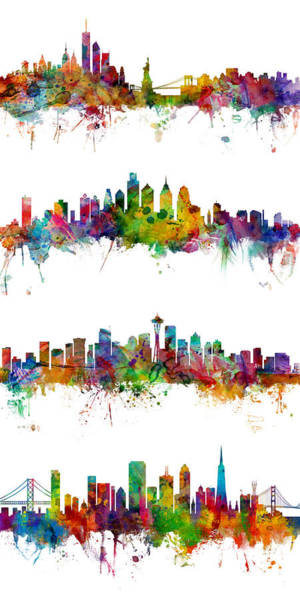 New York, Philadelphia, Seattle And San Francisco Skylines Art Print