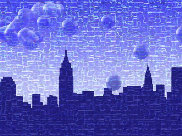 Midtown Manhattan Digital Art - New York Bubbles Skyline by Frodomixa Studio