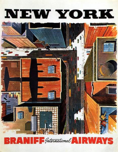 Wall Art - Painting - New York City Birds Eye View - Vintage Poster by Studio Grafiikka