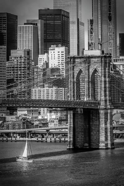 Wall Art - Photograph - New York City Brooklyn Bridge And Lower Manhattan - Monochrome by Melanie Viola