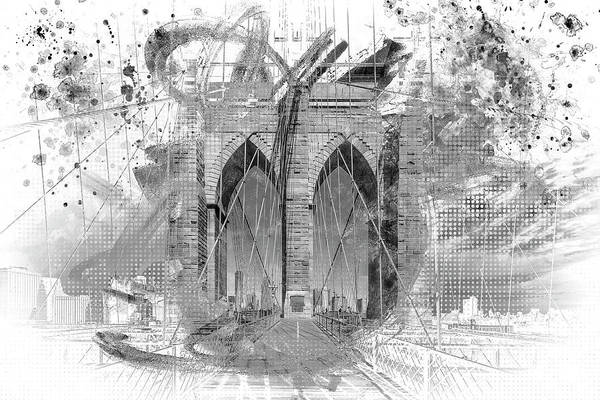 Wall Art - Digital Art - New York City Brooklyn Bridge In Detail - Grey by Melanie Viola