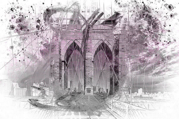 Wall Art - Photograph - New York City Brooklyn Bridge In Detail - Pink by Melanie Viola