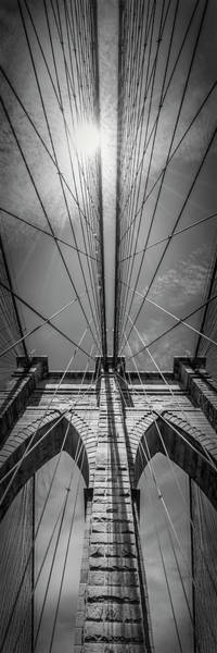 Wall Art - Photograph - New York City Brooklyn Bridge In Detail - Upright Slim Panorama by Melanie Viola