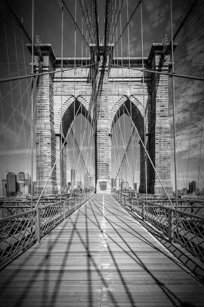 Wall Art - Photograph - New York City Brooklyn Bridge - Monochrome by Melanie Viola