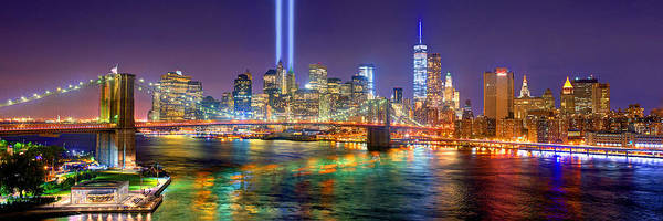 Wall Art - Photograph - New York City Brooklyn Bridge Tribute In Lights Freedom Tower World Trade Center Wtc Manhattan Nyc by Jon Holiday