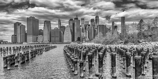 Wall Art - Photograph - New York City Brooklyn Riverside View - Panorama Monochrome by Melanie Viola